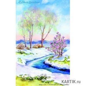 Как нарисовать весенний пейзаж акварелью поэтапно 61