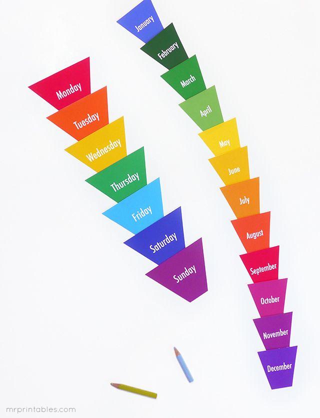 Days & Months Flash Cards - Mr Printables | Kindergarten ...