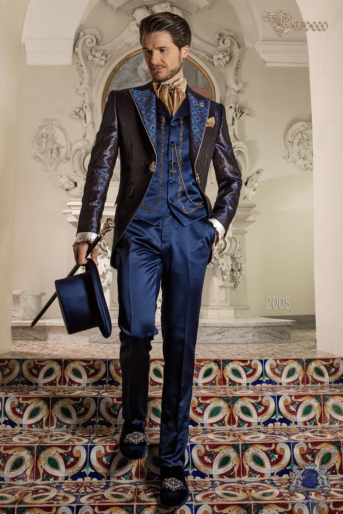 Redingote baroque brochée bleu royal et doré avec boutons doré. Costume de  mariage 2005 Collection Baroque Ottavio Nuccio Gala. 89eab630615