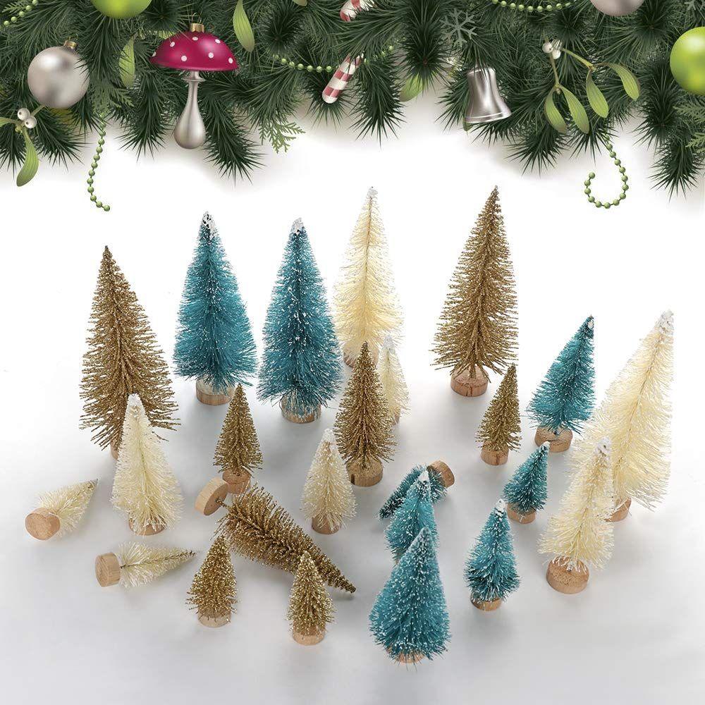 Doolland Mini Christmas Tree 24pcs Small Bottle Brush Sisal Tree Artificial Santa Snow Mini Christmas Tree Christmas Decorations For Kids Festival Decorations