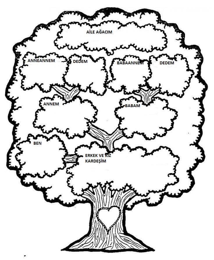 Aile Agaci Family Tree 2020 Ailem Boyama Sayfalari 5 Duyu Okuloncesi