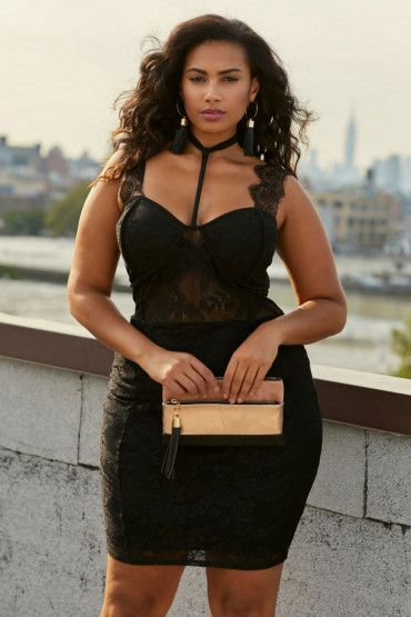 Plus Size Lace Choker Detail Bodycon Dress Amazing Plus