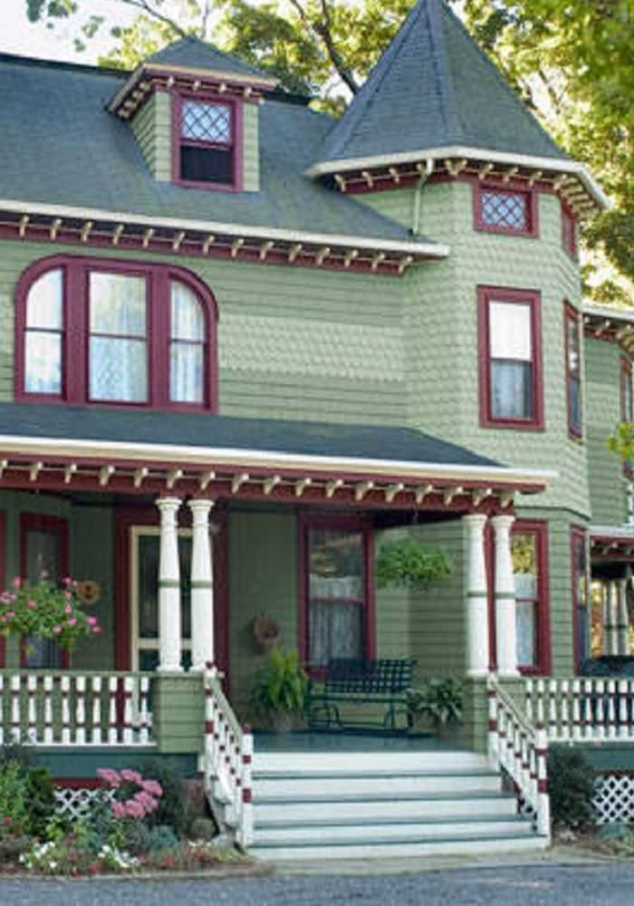 Pale medium greens burgundy white trims with dark - House paint color combinations exterior ...