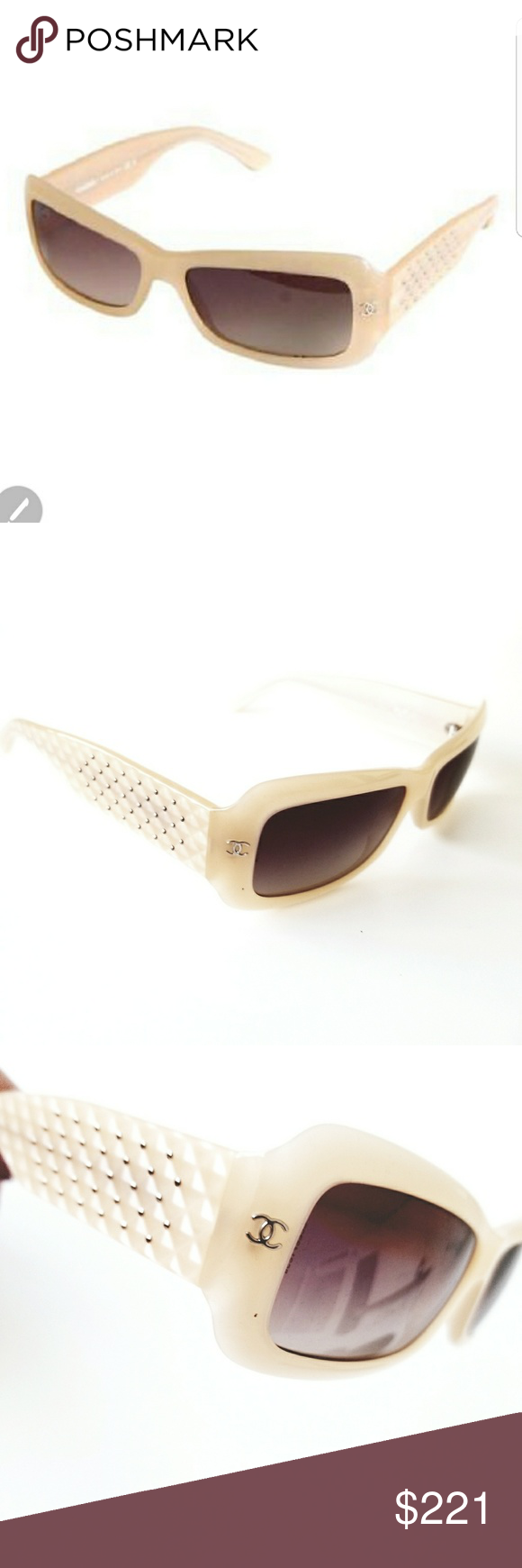5eeaf4371c5e1 Chanel 5099 Sunglasses Quilted Rectangular Authentic Chanel Sunglasses 5099  C.646 13 beige quilted