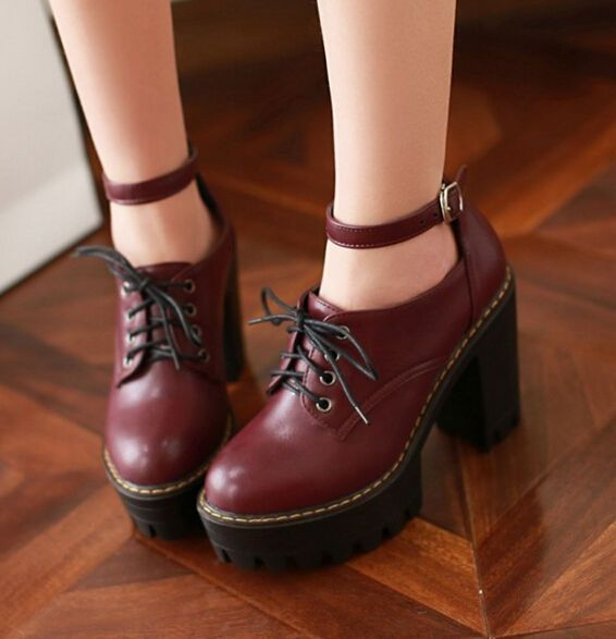 Punk Womens Lady Shoes Lace Up Block High Heels Platform Goth Creeper Ankle Boot