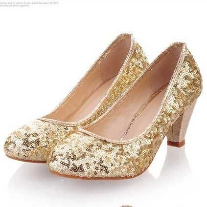 2013 Silver Gold Sequins Pumps Closed Toe Thick Heel Wedding Party Evening Shoes