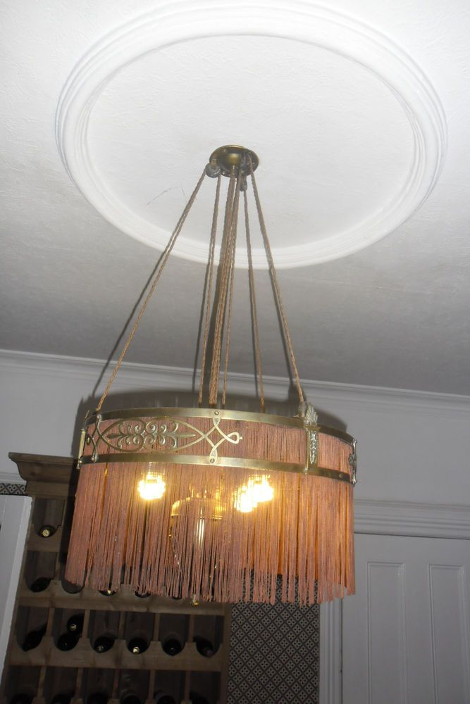 Superb Arts And Crafts Chandelier Re Wired Ready To Go Ebay