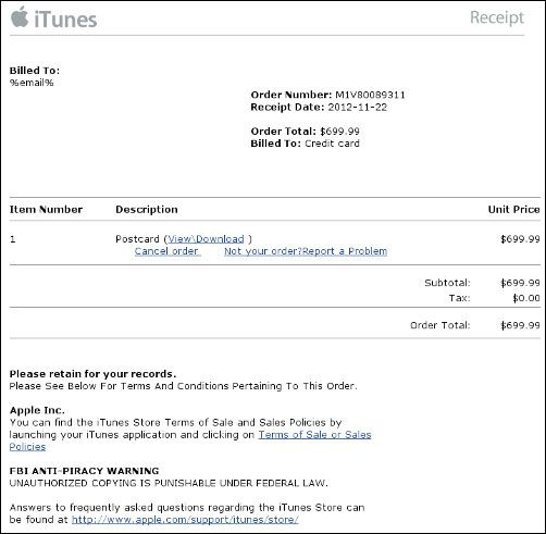 Fake Apple invoice heads to Blackhole banking malware My stuff - fake invoice