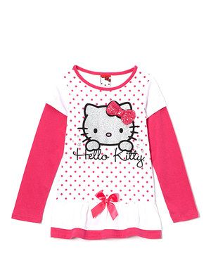 Loving This White Pink Polka Dot Hello Kitty Layered Top Girls On Zulily Zulilyfinds Pink Polka Dots Layered Tops Hello Kitty