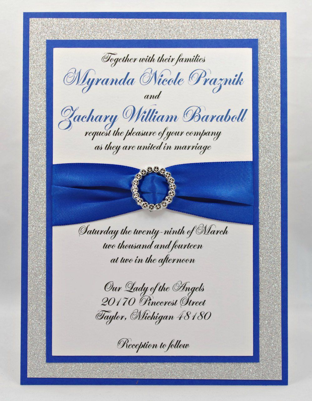 Stunning Royal Blue & Silver Glitter Wedding Invitation ...