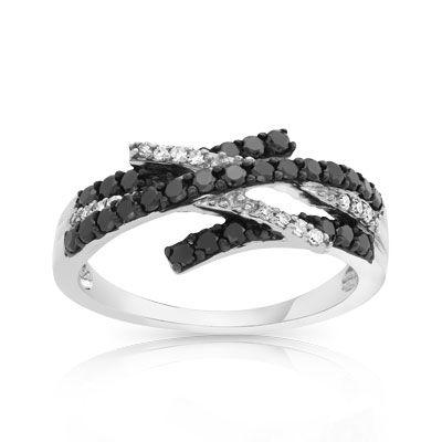 Préférence Bague or 750 blanc diamant noir et diamant blanc | idées bagues  RD52