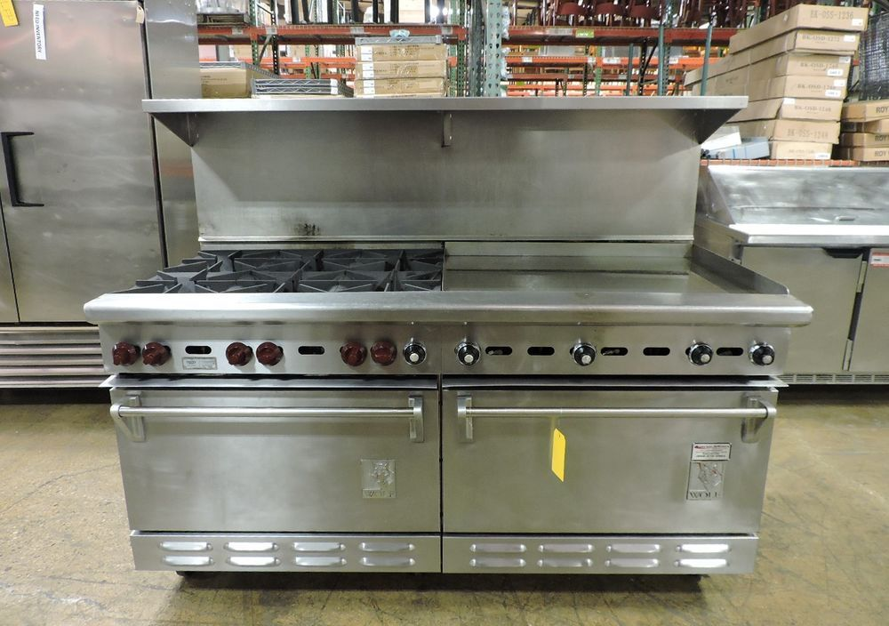 Wolf C68d 1251 Commercial 6 Burner And Griddle Top Range With 2 Standard Ovens Wolf Oven Sale Restaurant Equipment Oven