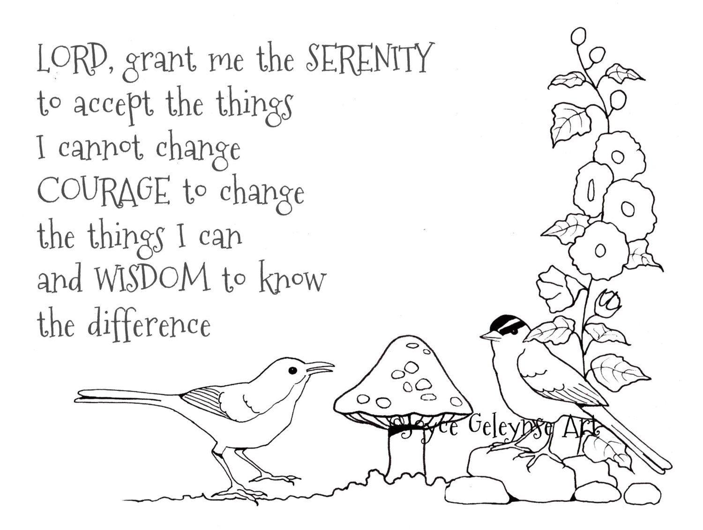 worksheet Serenity Prayer Worksheet printable art to color coloring for adults or kids plus pdf file items similar tips birds hollyhocks seren