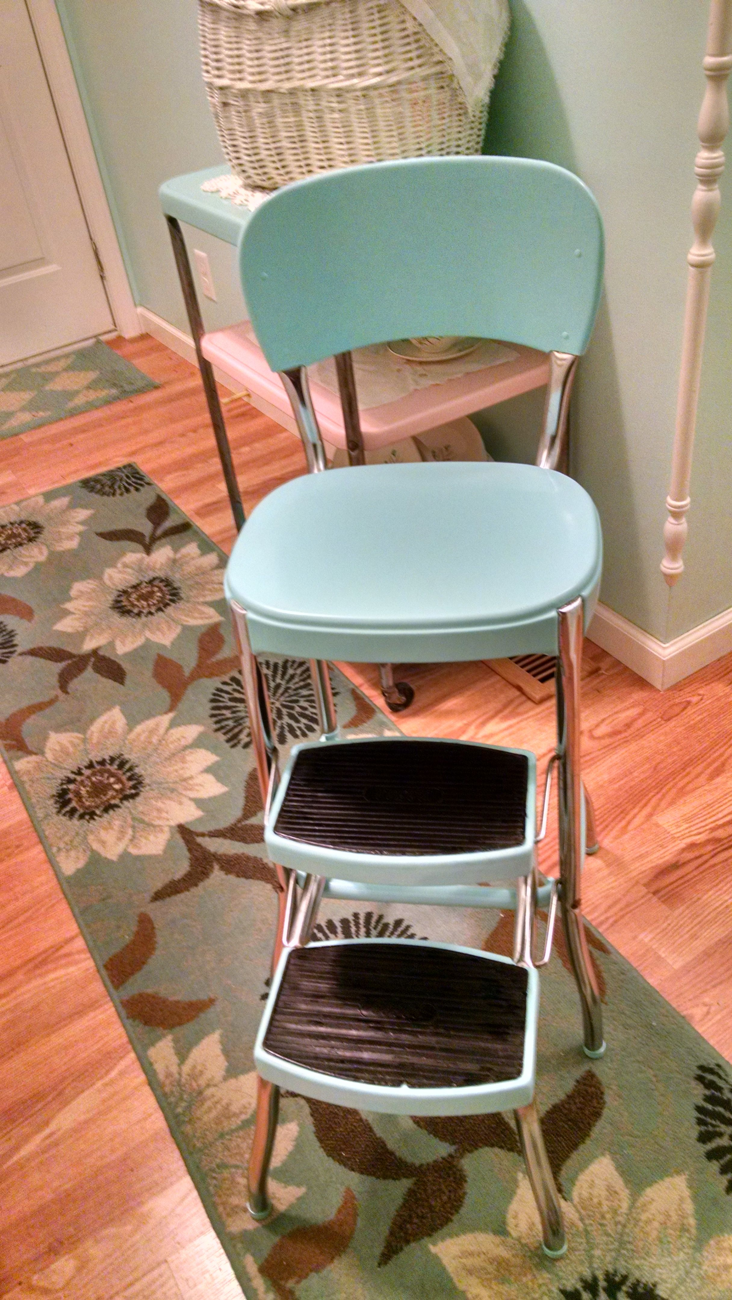 vintage kitchen step stool chair chest old cosco made new again aqua makeover