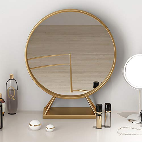 Amazon Com Gold Round Mirror With Base Large Circle Mirrors For Dressing Table Decor 19 68in Bi Living Room Mirrors Dressing Table Mirror Dressing Table Decor