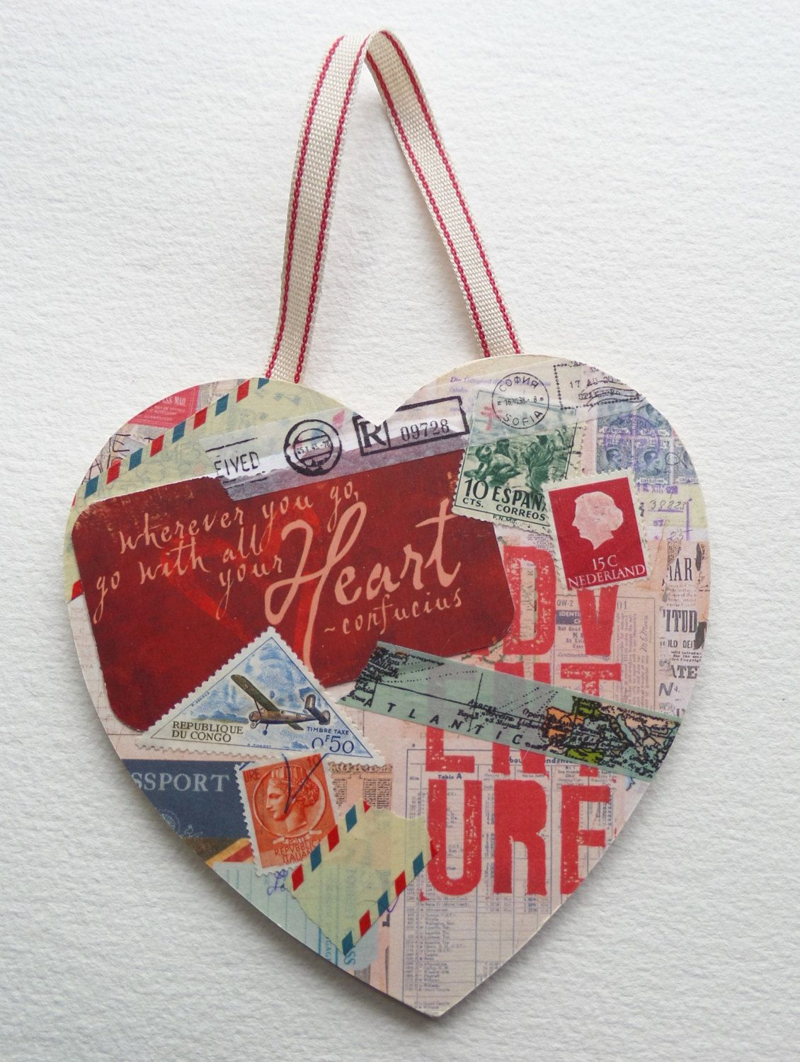 Travel ephemera heart collage. Quote by KittyZuluDesigns on Etsy