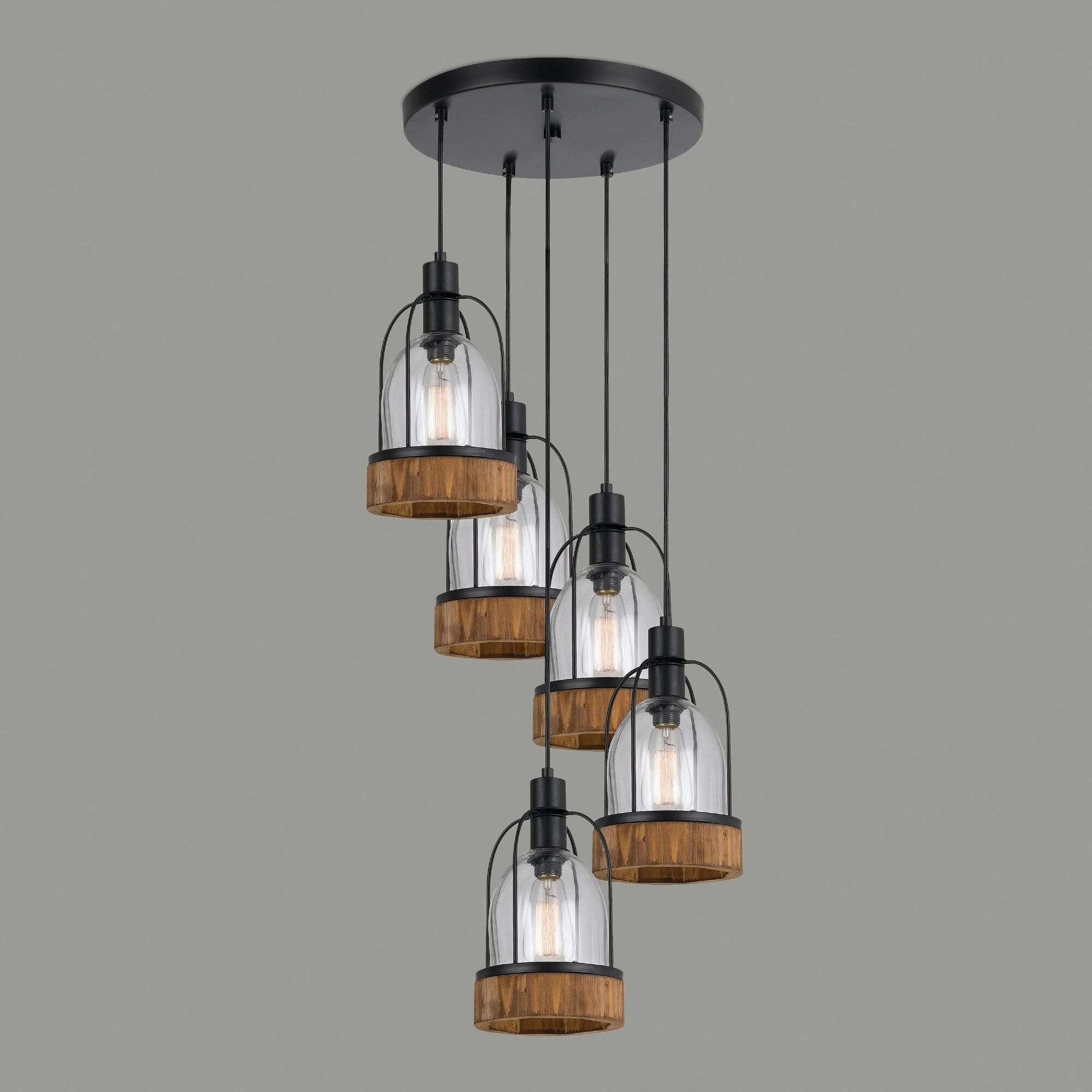 Unique Hanging Lamps featuring five bell jar-shaped lights at staggered heights with