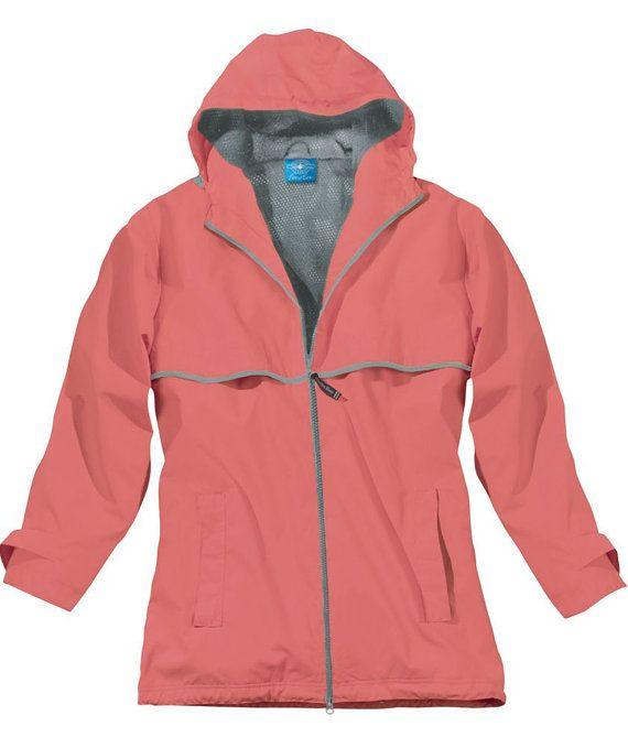 Rain Coat Jacket Coral Medium by MonogramExpress on Etsy, $53.00