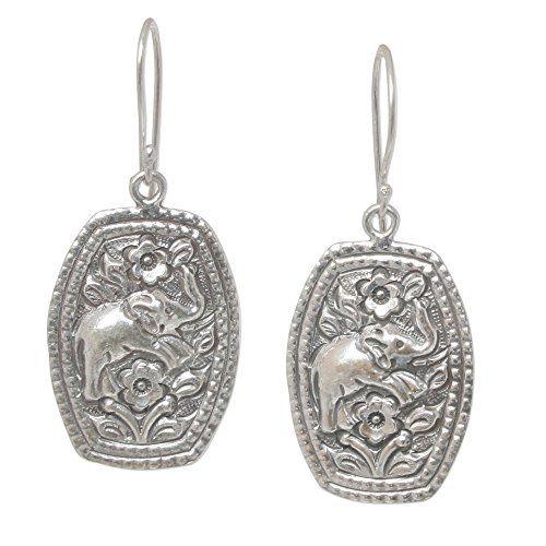 Novica Sterling silver flower earrings, Elephant Roses