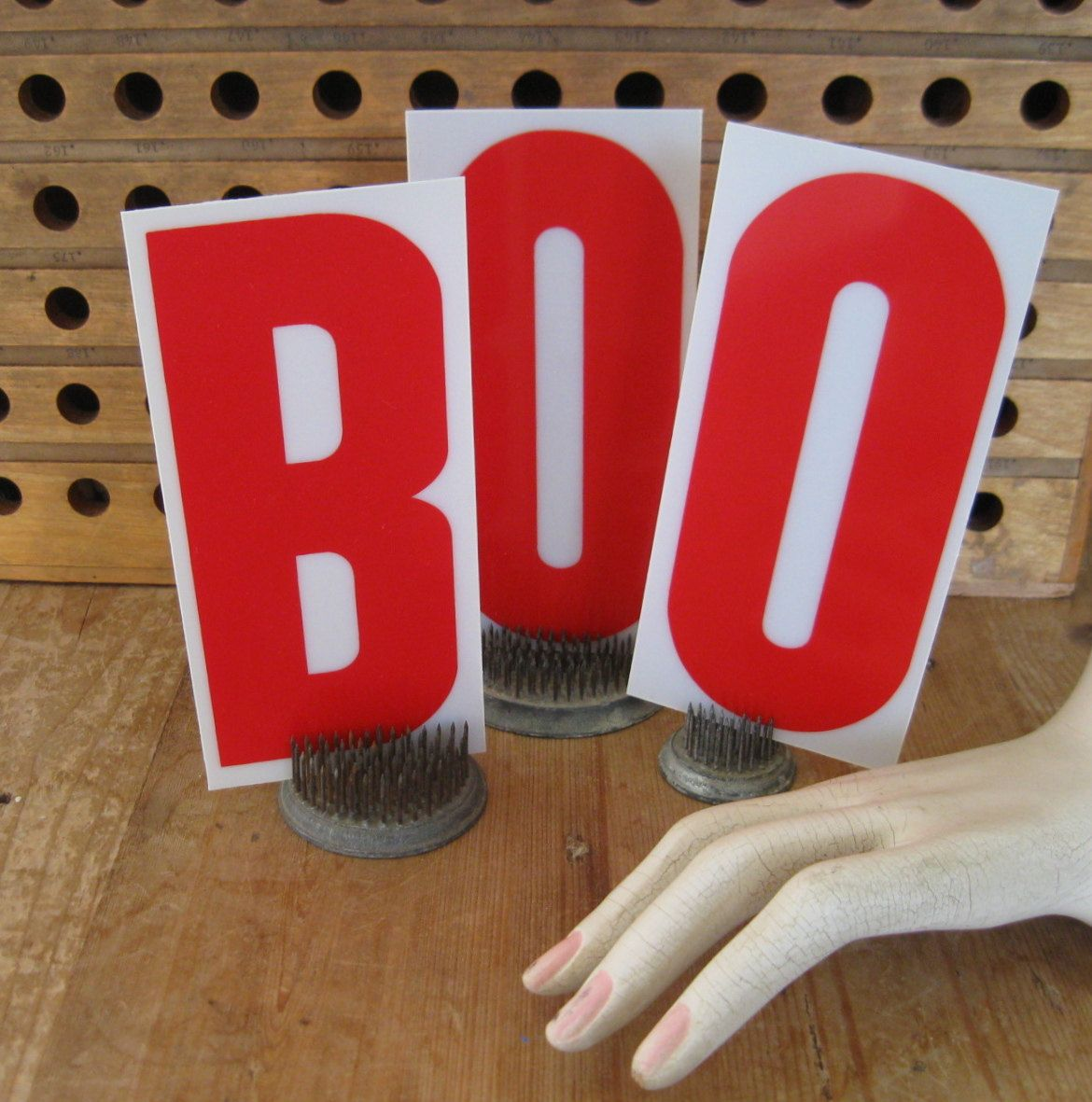 Boo Vintage Sign Letters Red Letters Plastic Sign Letters Halloween Decor Halloween Supplie Vintage Display Light Up Signs Halloween Party Decor