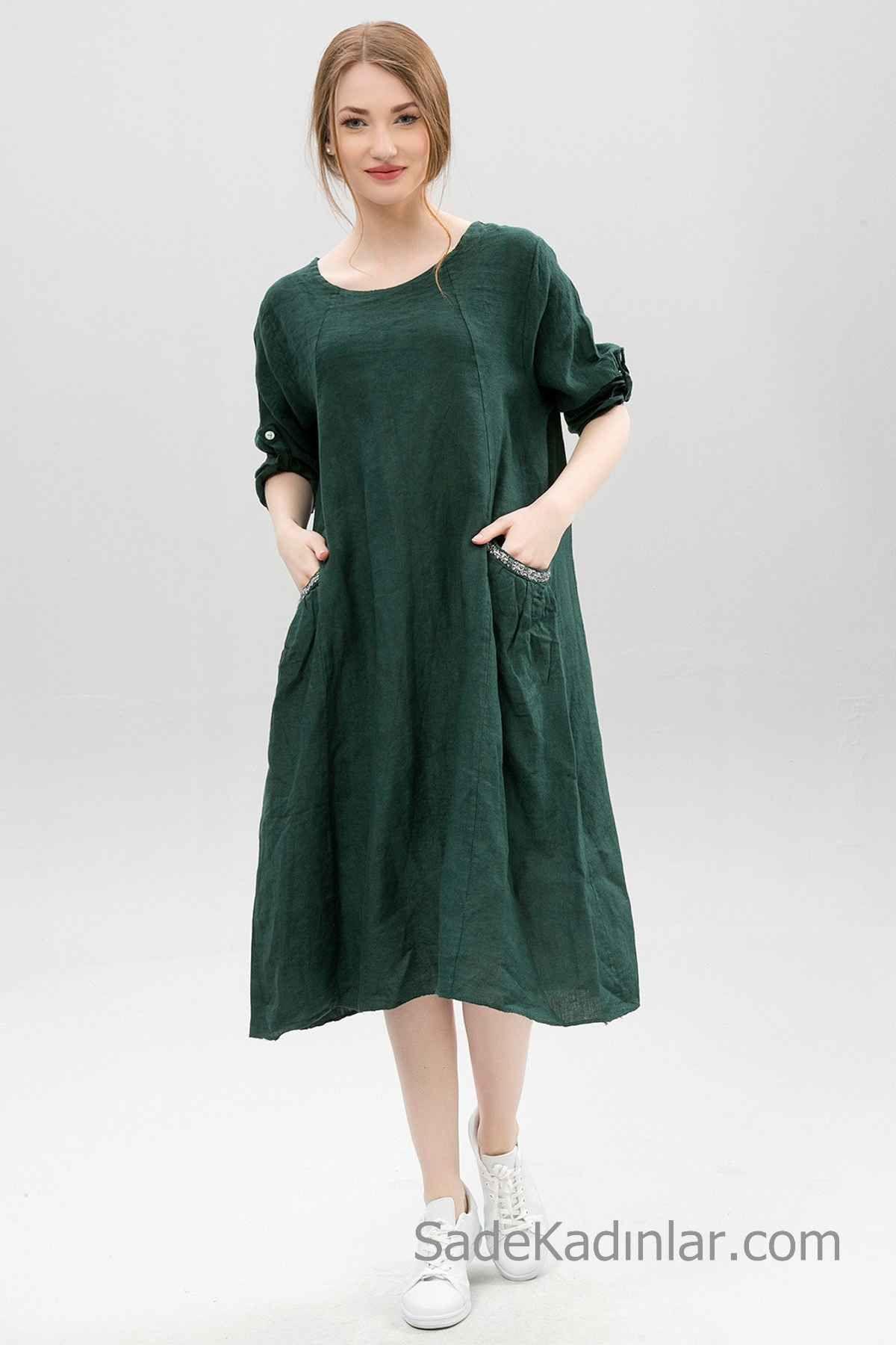 2019 Yaz İçin Günlük Keten Elbise Modelleri Yeşil Midi Yetim Kol Geniş Yaka Simli Cep Detaylı