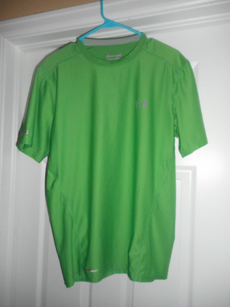 Men's Green UNDER ARMOUR HEATGEAR FITTED Athletic Short Sleeve Shirt, Size LG #UNDERARMOURHEATGEARFITTED #CrewNeckPullOver