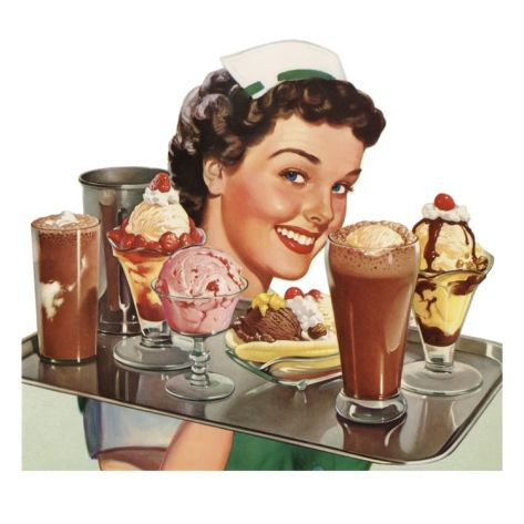 Waitress Carrying Ice Cream Desserts