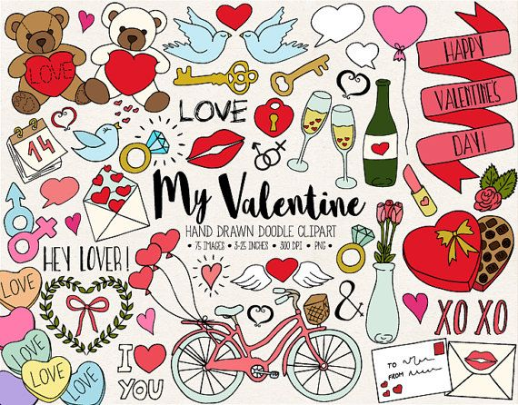 Doodle Love Wedding Clipart Hand Drawn Valentine S Day Clip Art Romance Heart Arrow Bicycle Cupcake Doodle Wedding Illustrations In 2021 Valentine Doodle Valentines Day Doodles How To Draw Hands
