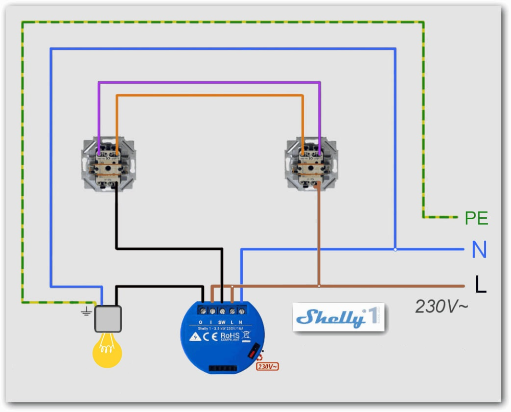 Solved Shelly1 Wiring With 2 Way Switching Hotel Switch Off Topic Openhab Community What Is Design Lamp Switch Wire