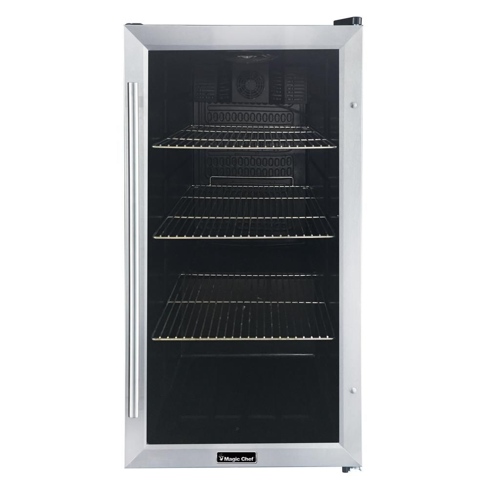 Magic Chef 3 1 Cu Ft 87 12 Oz Can Beverage Cooler In Stainless Steel Hmbc31st The Home Depot Magic Chef Stainless Steel Doors Beverage Cooler