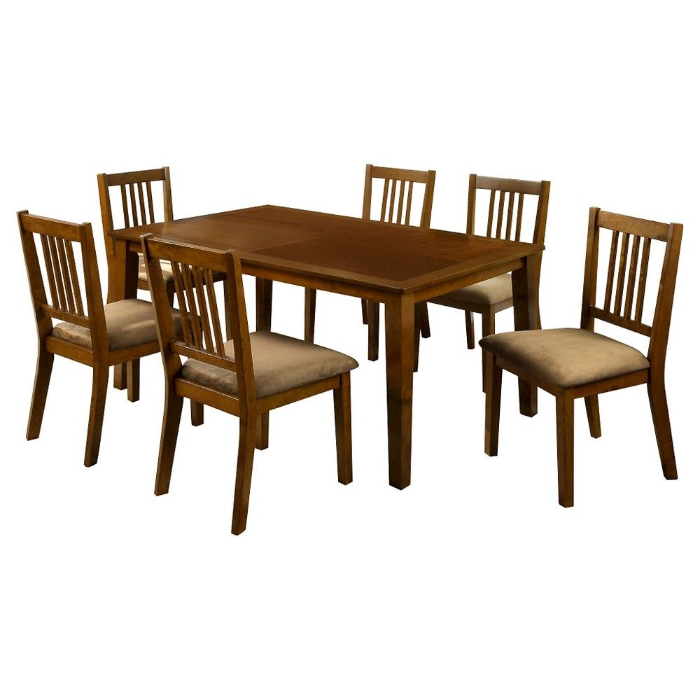 Barred Chair Back Leatherette Padded Side Dining Table Set Wood Dark Oak