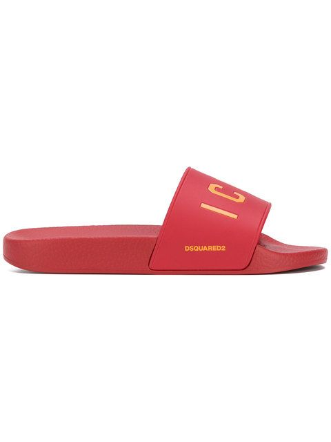 Dsquared2 Designer Shoes, Icon Sky Rubber Slide Sandals