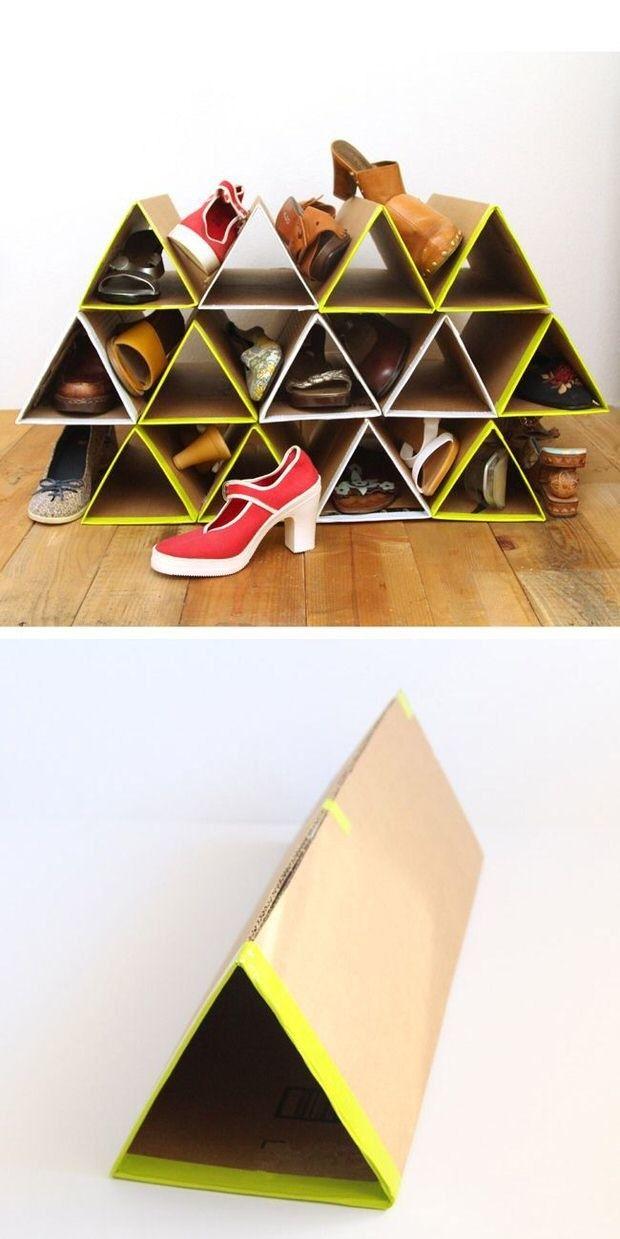 DIY this space-saving cardboard shoe rack. | 16 Shoe Storage Hacks If You Don't Have Closet Space