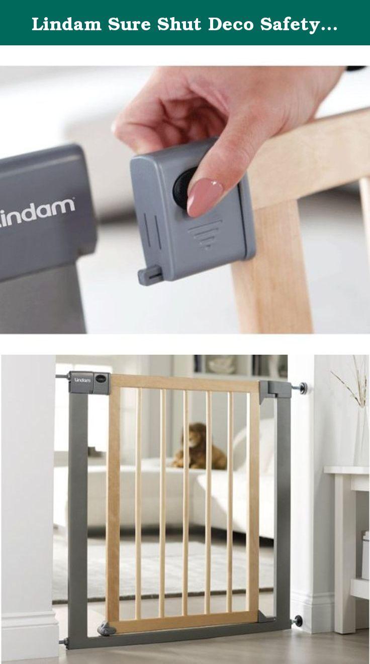 Natural Wood /& Silver Metal Lindam Sure Shut Deco Stair Gate