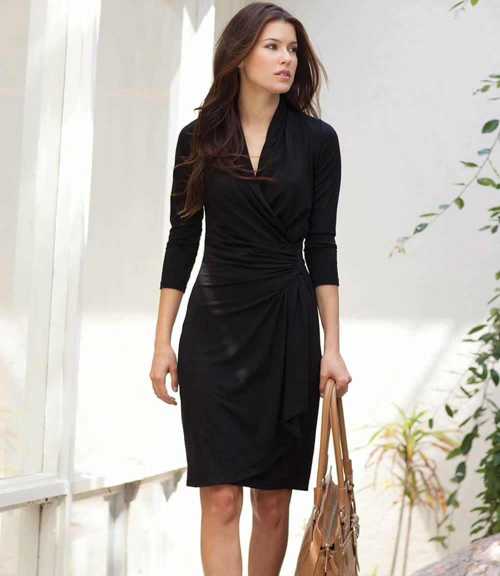Cascade Wrap Dress  Fashion, Black wrap dress, Black funeral dress