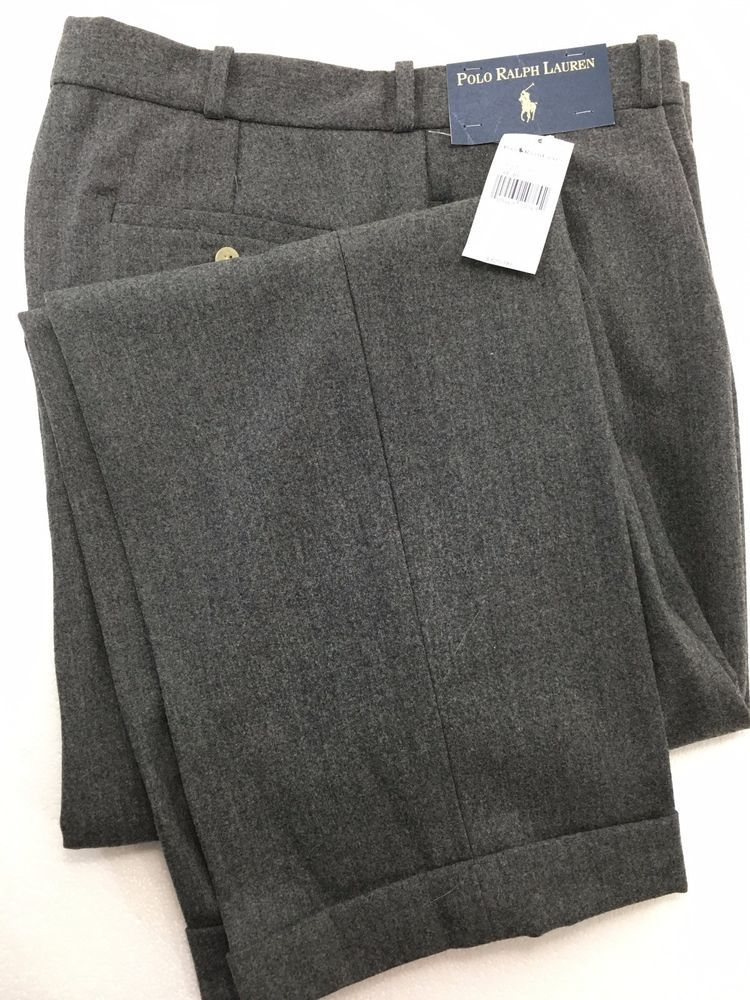 df199f7071 Polo Ralph Lauren Gray Wool Flannel Pants Pleated & Cuffed Mens 34 x ...