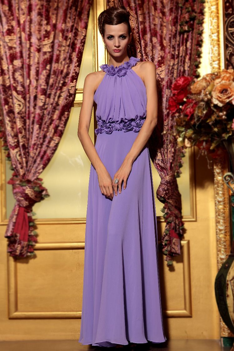 Cute and Sweet Floral Neckline Sleeveless Ruffled Chiffon Wrap Prom ...