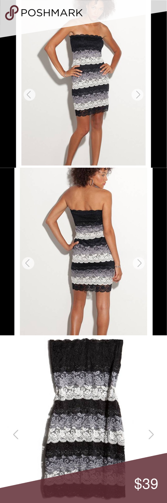 ea005adfc44 GUESS Tyra Tiered Lace Strapless Dress L G by GUESS A sexy tube dress made  up of sexy details. Strapless dress showcases ladylike lace from top to  bottom in ...