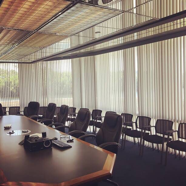 Custom Vertical Blinds In The Boardroom Of This Commercial