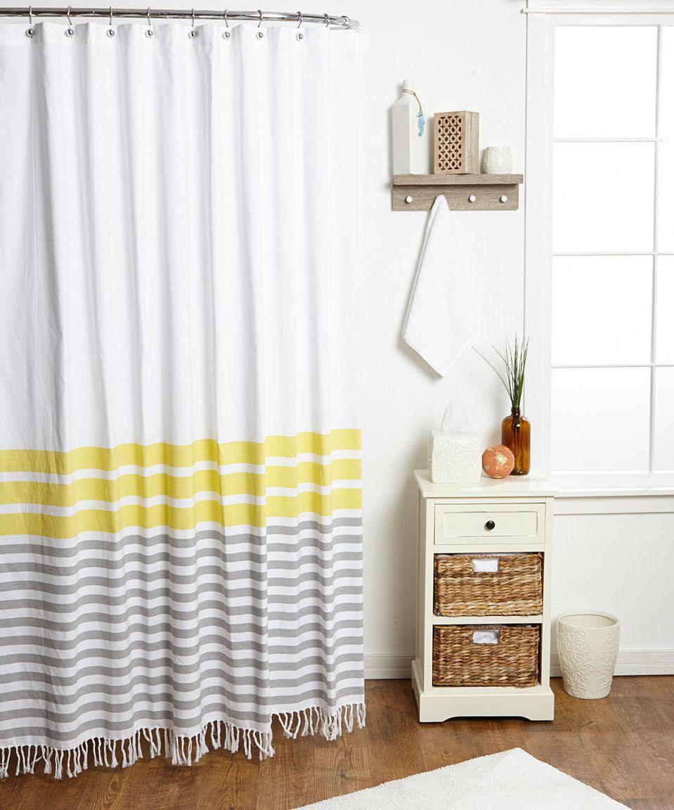 Yellow stripe shower curtain - This Zest Yellow Border Stripe Shower Curtain By Envogue Is Perfect Zulilyfinds