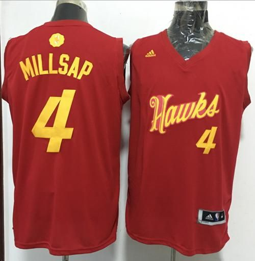 newest f4456 c1247 $21 Atlanta Hawks #4 Paul Millsap adidas Red 2016 NBA ...