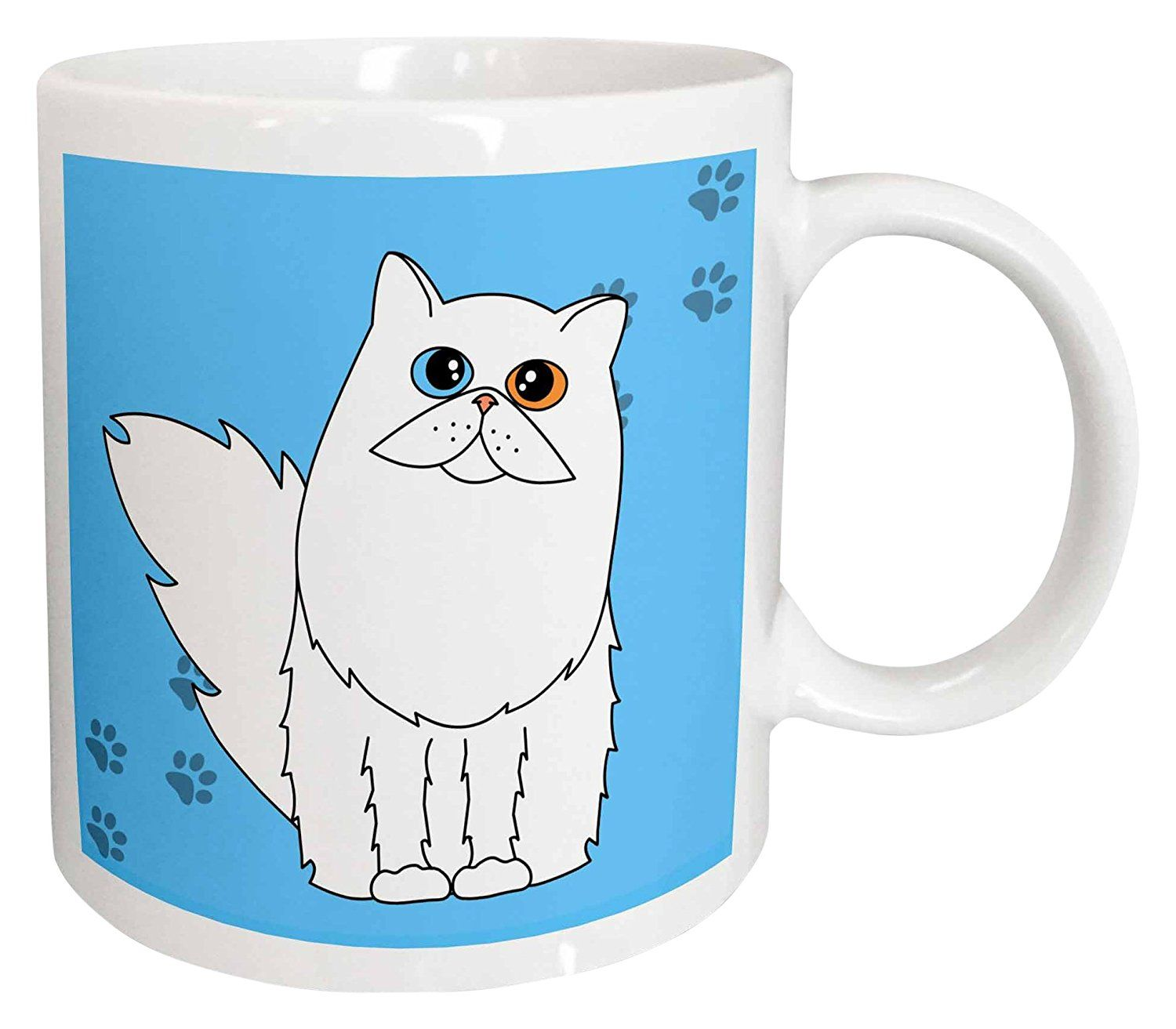 3dRose mug_6113_1 White Odd Eyed LongHaired/Persian Cat