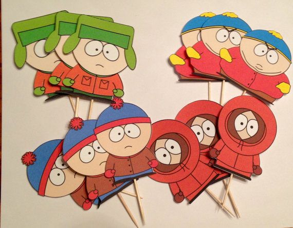 South Park Inspired Cupcake Toppers South Park Birthday Decorations South Park Theme Kenny Kyle Park Birthday Birthday Party At Park South Park