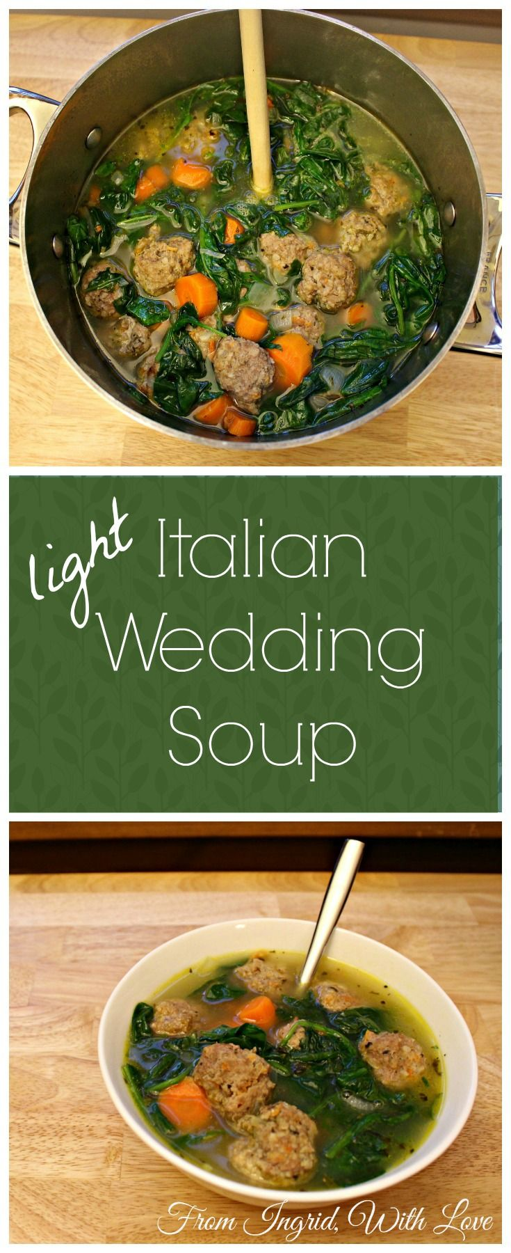 Italian Wedding Soup with turkey meatballs, carrots and spinach. A healthier, heartier version of an old favorite!