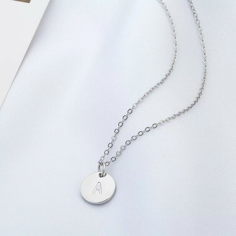 Silver Tone Alphabet Initial Letter Charm Pendant Necklace Birthday Gift A-Z