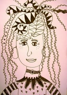 wild and wacky hair line drawings