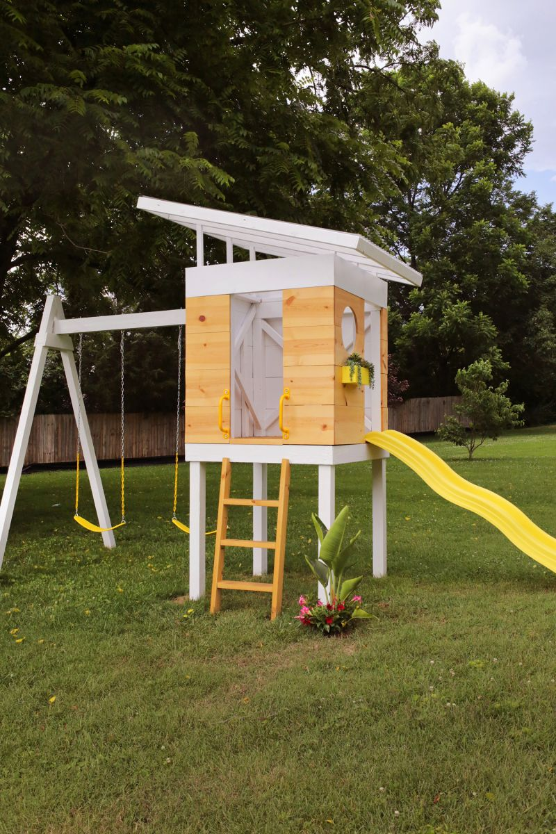 Mid Century Play Set A Beautiful Mess Backyard Playground Backyard For Kids Playground Design