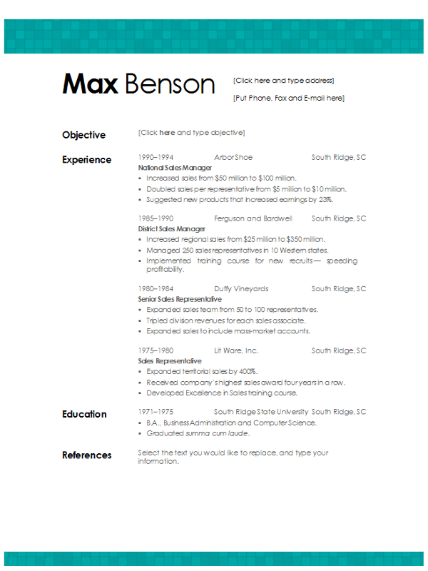 Free Microsoft Word Resume Templates Tiled Aqua Resume Template Download Word Format  Ms Word Resume
