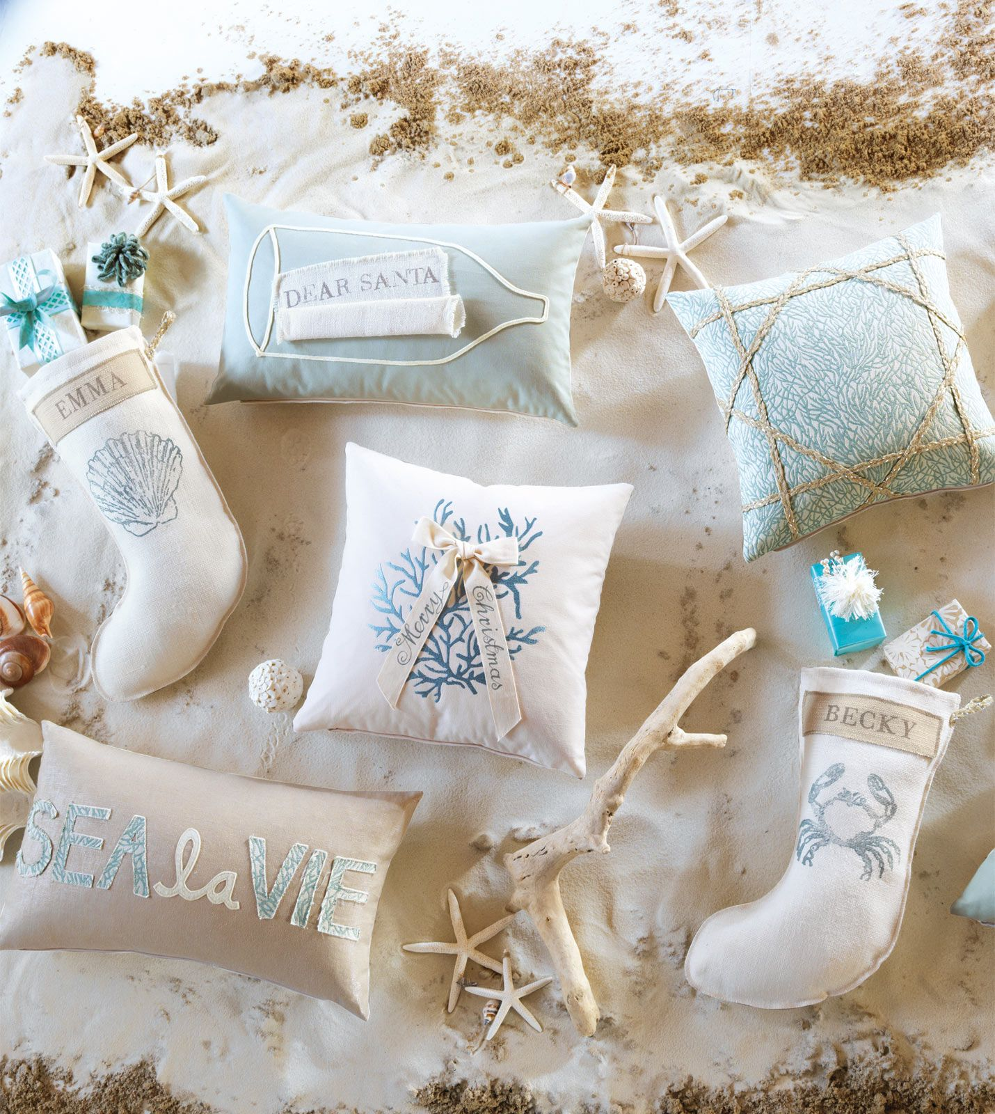 ea holiday luxury home decor by eastern accents coastal tidings collection - Coastal Christmas Stockings