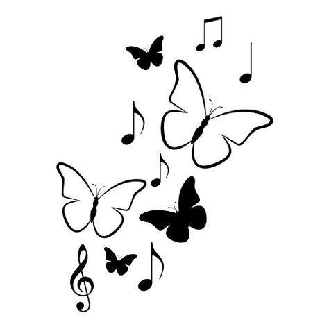 Vlinders En Muzieknoten Muursticker Raamsticker Is Part Of Butterfly Drawing Butterfly Drawing Music Notes Drawing Art Drawings Sketches Simple